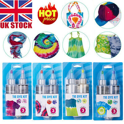 UK DIY Textile Paint With Gloves Colorful Tie Dye Kit One Step Cold Water