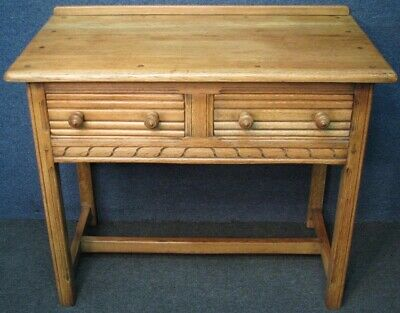 Pre 1950 Ercol Period Style Oak 2 Drawer Side Table