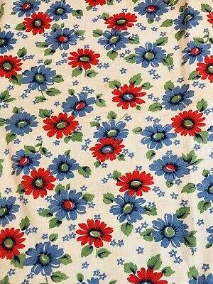 vintage cotton fabric feedsack red and blue and green flowers
