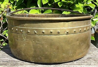 Old Antique Victorian Brass Riveted Jam Pan Log Coal Bucket Store Planter 4.7kg