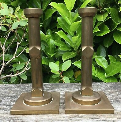 Old Vintage Machine Age Architectural Solid Brass Candlesticks Weigh 1.7kg Each