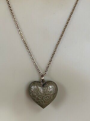 """Vintage Victorian Style Repousse Bronze Puffy Heart Pendant Necklace Patina 18"""""""