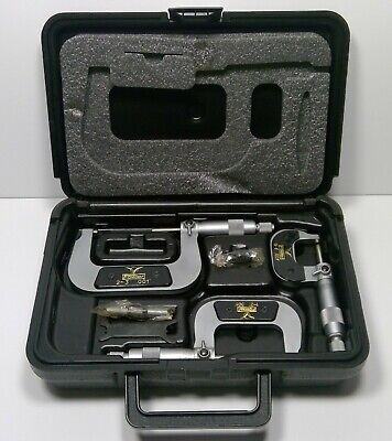 """Fowler 0-3"""" Swiss Style Outside Inch Micrometer Set 52-254-103"""