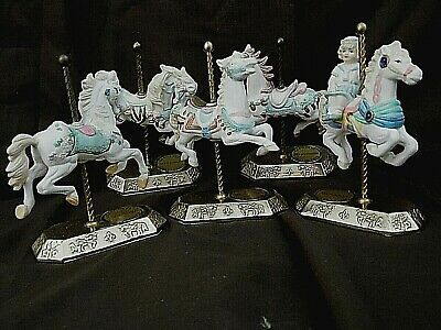 Set of 5 Westminster Carousel horses, ceramic white, with brass base