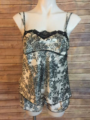 Victorias Secret Angels Black White Toile Cami Short Set M PJ