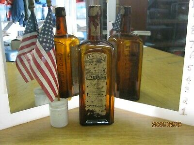 "A MINT SHOWPIECE~YELLOW AMBER BUCKLEN ""ELECTRIC"" BITTERS with LABELS~CHICAGO,IL"