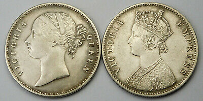 1840 & 1892 East India Company/British India Silver One Rupee - 2 Coins