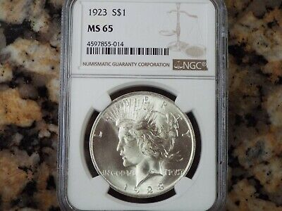 1923-P $1 Peace Silver Dollar, NGC MS-65!