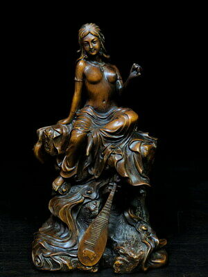 Collectable Handwork Boxwood Carving Beauty Naked Foot Has Jean Precious Statue