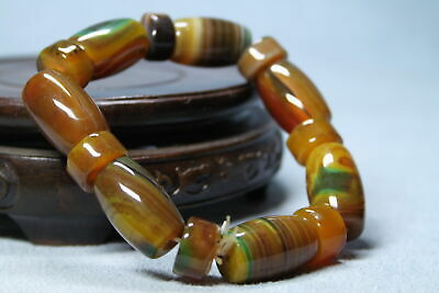 Handwork Agate Polishing Brown Cylindrical Bead Precious Exquisite Hand Catenary