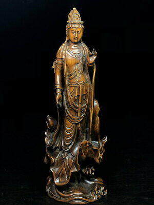 Collectable Boxwood Carving Guanyin Stood Lotus Leaf Precious Atmosphere Statue