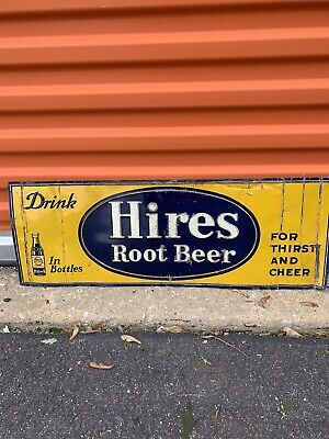 Hires Root Beer Embossed Sign Soda Pop Soft Drink 27.5x9.75