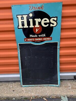 1940's Hires Root Beer 5 Cent Bottles Embossed Metal Sign Chalkboard 29.5x15.5