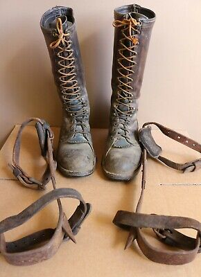 Vtg Wesco Double Stitch Lineman Boots Buckingham Pole Tree Climb Gaffs Work Wear