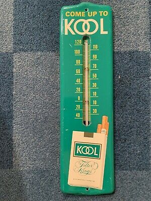 Vintage KOOL Cigarette Tobacco Tin Advertising Thermometer Sign 12.5x3.5