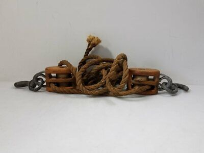 Vintage Nautical Ship/Dockyard Boat Rope + Wooden Pully System Lot 7+ Pounds