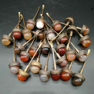 40pcs 1.5 cm antique agate cover painted ceramic glaze snuff bottle accessories