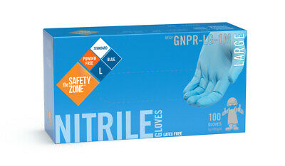 Nitrile Gloves - 100 Count -Latex and Power Free - Blue Color -Large