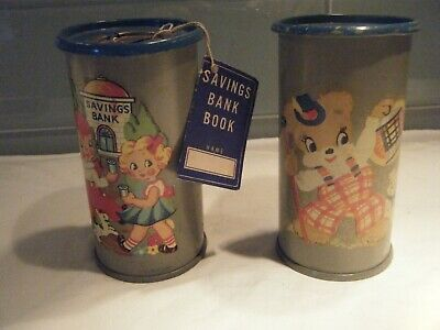 Vintage 1940's Children's Coin Savings Banks by Lawrence MFG Co Set of 2