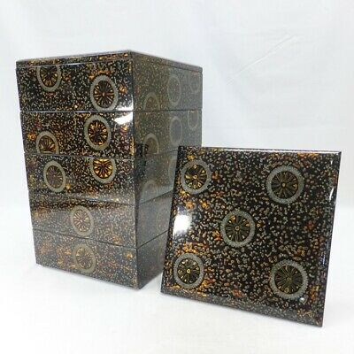 A541 Popular Japanese tier of lacquered boxes JUBAKO of old WAKASA lacquer ware