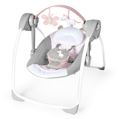 Ingenuity Baby/Infant 0m+ Swing Swing/Rocker Chair w/ Toys Audrey PS Update Pink