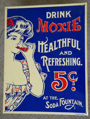 DRINK MOXIE ANTIQUE METAL SIGN - Used & Good Condition