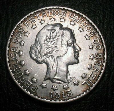 OLD SILVER COINS 1913 Brazil 2000 Reis BEAUTY