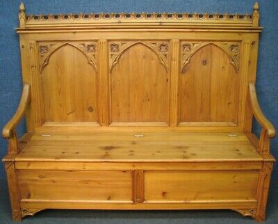 Gothic Style Large Solid Pine Carved Settle Bench With Lift Up Seat