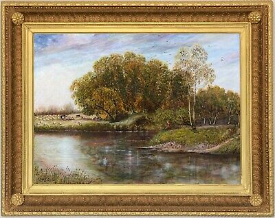 Angler River Landscape Antique Oil Painting Charles Shaw (British, 19th Century)