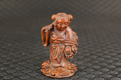 Rare chinese boxwood hand carved Ho Hsien-ku figure statue hand piece