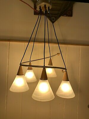 Vintage Scandinavian Style Frosted Glass Chandelier By 'MASSIVE (PHILLIPS)'