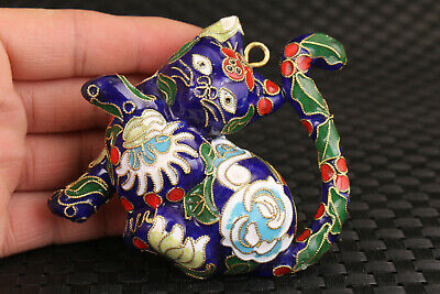 chinese old cloisonne hand carved lovely cat statue pendant