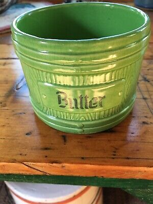 Small Vintage Green Stoneware Butter Crock