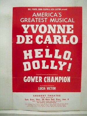 HELLO DOLLY Herald YVONNE DeCARLO Tour NEW HAVEN CT Shubert Theatre 1969