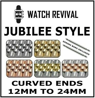 Jubilee Watch Bracelet 12,13,14,16,17,18,20,22 & 24Mm With Curved Endlinks Uk