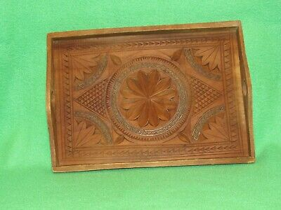 HAND CARVED WOODEN SERVING TRAY With Finger Holes