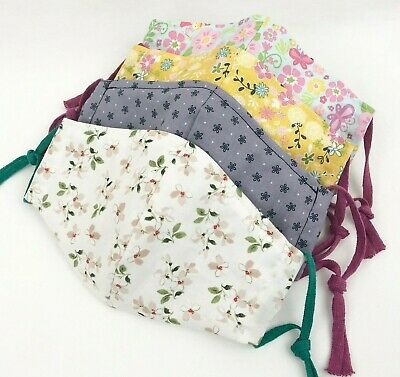 Adult Cotton Face Mask With Filter Pocket Nose Wire Floral Washable Reusable New