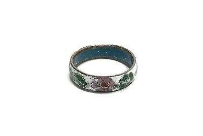 Estate Vintage Antique Enamel Cloisonne Floral Ring Size 7.5