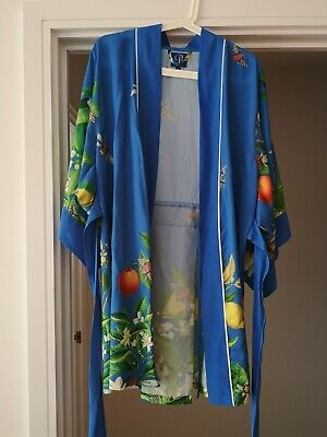 B By Ted Baker Blue Citrus Bloom Summer Dressing Gown House Coat Size 8-10