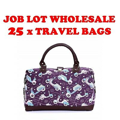 Job Lot Wholesale Pack of 25 Womens Girls Fashion Canvas Travel Weekender Bags