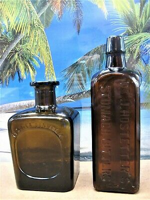 Dr J Hostetters Stomach Bitters And Don Julio Tequila Old Square Bottles