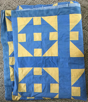 Quilt Top Antique Vintage Blue and Yellow Turndash 99in. X 83in.