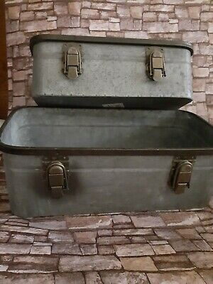 Vintage Galvanized Metal Drawer Box Farmhouse Industrial Shabby Chic Suitcase