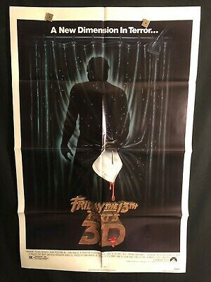 Friday The 13th 3D 1982 One Sheet Movie Poster Horror Jason Vorhees Halloween