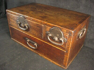 ANTIQUE JAPANESE EDO ERA (c.1820) FUNEDANSU 3 DRAWER DOCUMENT TANSU CHEST