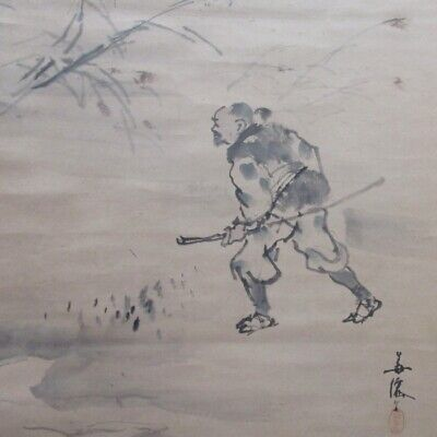 J156: Japanese old hanging scroll of painting two SAMURAIS with sword