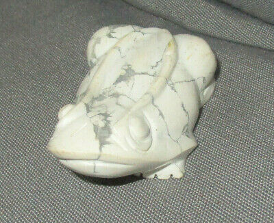 Carved Stone Frog Vintage White and Gray