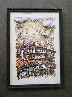 Kostov 1992 Signed Ink + Watercolor - Populated Hotel Below Active Volcano 14x20