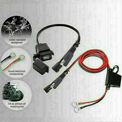 Motorcycle 12V SAE to USB Phone GPS Charger Adapter Inline Fuse Cable Waterproof