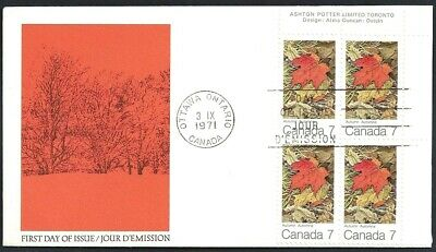 Canada   # 537 URpb    MAPLE LEAVES - AUTUMN   Brand New 1971 Unaddressed Cover